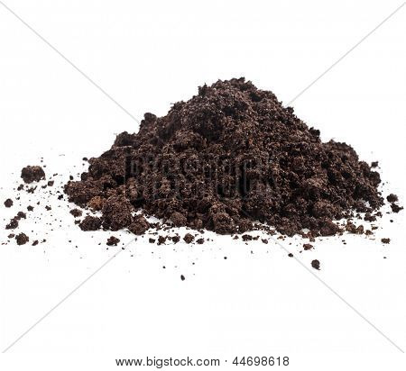Pile heap of soil humus isolated on white background poster