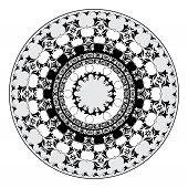 black and whitel circular pattern of elegant oriental studies poster