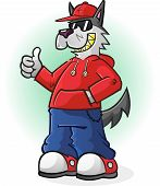 A big bad wolf punk cartoon character wearing a hoodie and baseball cap and giving a thumbs up poster