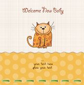 new baby shower card with cat vector illustration poster