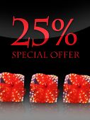 Nice lighted Presents in the christmas time with special offer poster