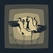 Dancing Crane(Symbol of prosper) against the Moon. poster