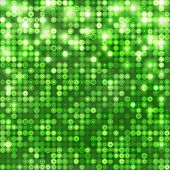Green abstract sparkling disco background with circles poster