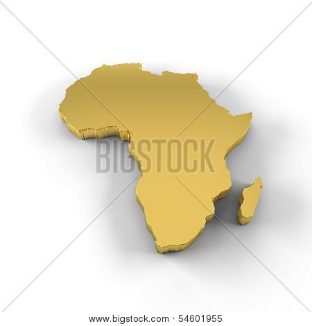 Africa map 3D in gold and including clipping path