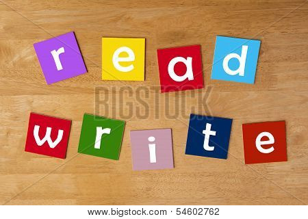 Read, Write - Word Sign For School Children.