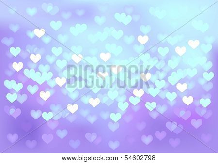 Vector background defocused blue lights in hearts shape, no size limit. proportion of A4 format horizontal