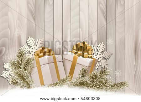 Christmas holiday background with gift ribbon with gift boxes Vector