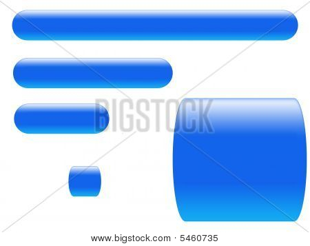Different blue buttons on a white background separately poster