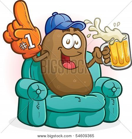 Couch Potato Sports Fan Cartoon Character