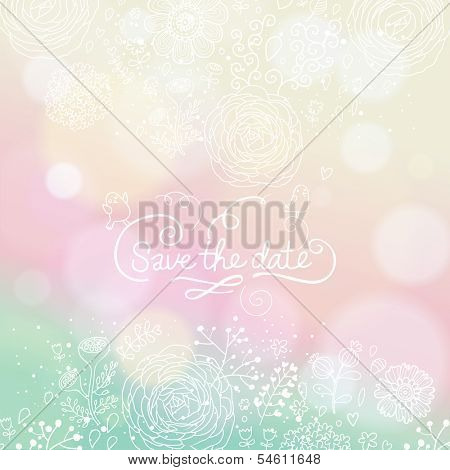 Pastel colored wedding invitation in vector. Delightful Save the Date card in modern style. Adorable romantic card