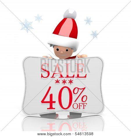 Mini Santa Claus Presents Christmas Sale 40 Percent Off Symbol