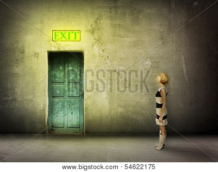 Girl Door Room Exit Sign