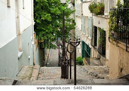 One Of The Street In Montmartre, Paris, France