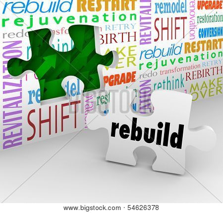 Rebuild Word Puzzle Piece Remodel Restart Over