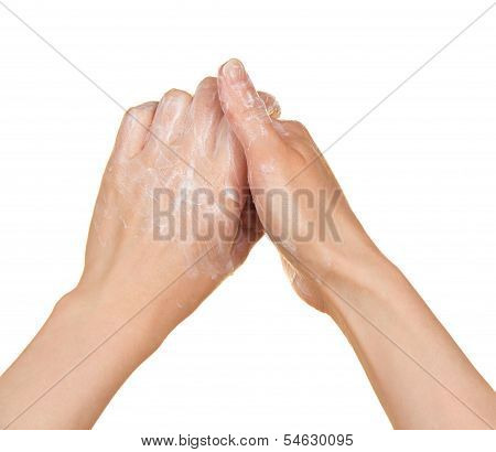 Hands and foam, isolated on white