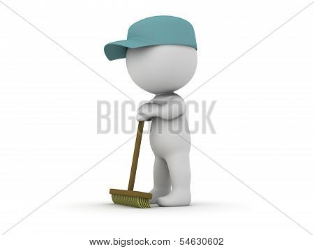 A 3d guy dressed as a janitor waiting leaning on his broom poster