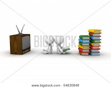 3D Man Watching TV and 3D Man reading Book