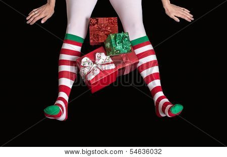 Christmas Elf Feet With Presents
