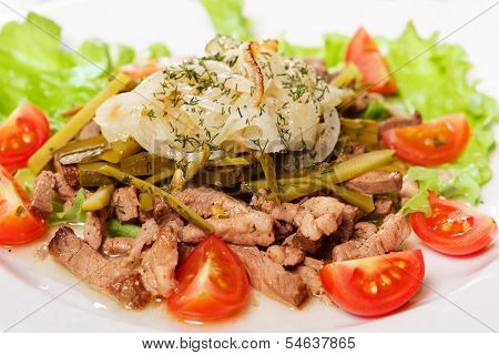 Salad From Meat And Ripe Vegetables