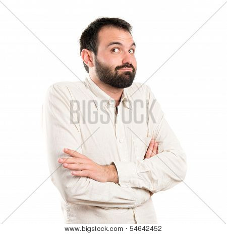 Young Man Satisfied Over White Background