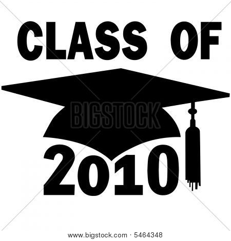 A mortar board and tassel Graduation Cap for a College or High School Class of 2010. poster