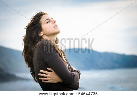 Shivery Woman Feeling The Breeze