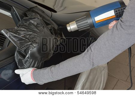 Car Mirror Wrapped In Adhesive Foil Or Film By Car Wrapping Specialist