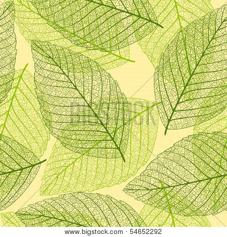 Skeleton leaves. Seamless background. This is file of EPS10 format. poster