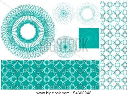Vector set of spirographs background for certificates, coupons, vouchers, posters, tickets or cards
