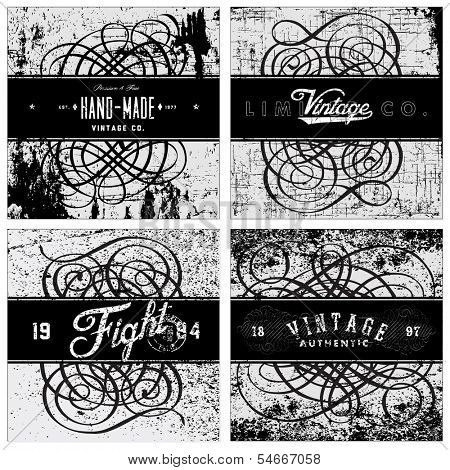 Vector distressed grunge texture and pattern with vintage frames and text. Great for any grunge design. Simply place over any object to create grunge effect.