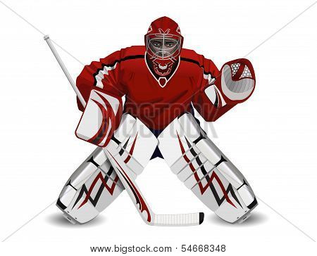 Vector illustration of ice hockey goalie in protection poster