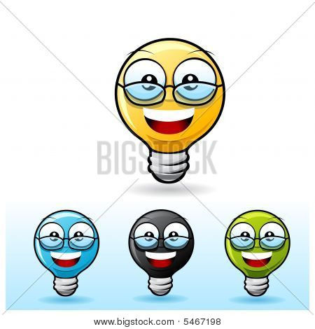 Light Bulb Character: Wearing Eyeglass
