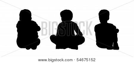Little Boys Seated Silhouettes Set 1