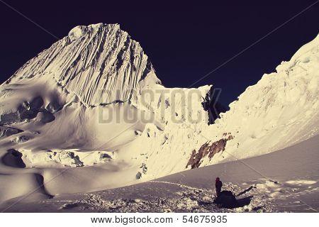 Base camp Alpamayo and Alpamayo peak poster