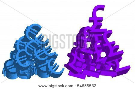 Piles of Euro and British Pound Symbols