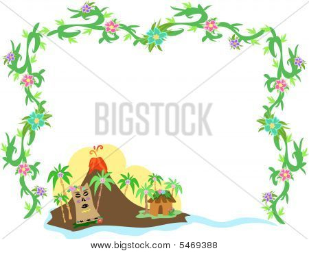 Frame of Polynesian Tiki and Volcano