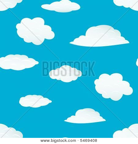 poster of Seamless vector clouds background. For easy making seamless pattern just drag all group into swatches bar, and use it for filling any contours.