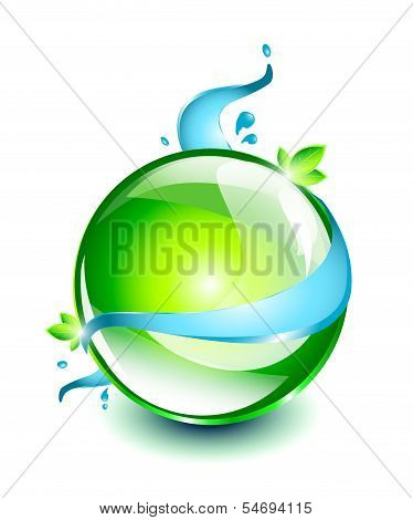 Green sphere with water