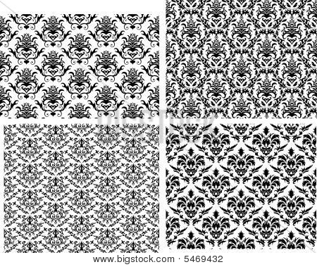Damask seamless vector backgrounds set.  For easy making seamless pattern just drag all group into swatches bar, and use it for filling any contours. poster