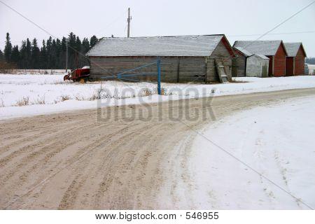 Snowy Old Farm Buildings