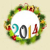 Stylish Happy New Year 2014 celebration flyer, banner, poster or invitation with colorful text in fir tree, mistletoe and gifts decorative background.  poster