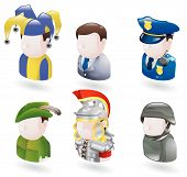 An avatar people web or internet icon set series. Includes a jester or joker, a businessman, a police officer or security guard, robinhood, a roman soldier and a modern soldier poster
