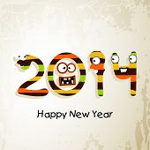 Happy New Year 2014 flyer, banner, poster or invitation with comic faces and colorful text on grungy brown background.  poster