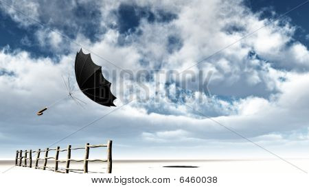 Flying Umbrella over The Fence