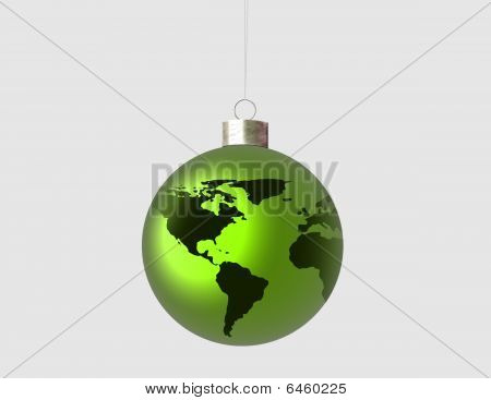 Ornament with green world
