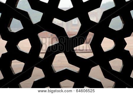 Traditional Islamic Ornament On Medieval latticed Window,India