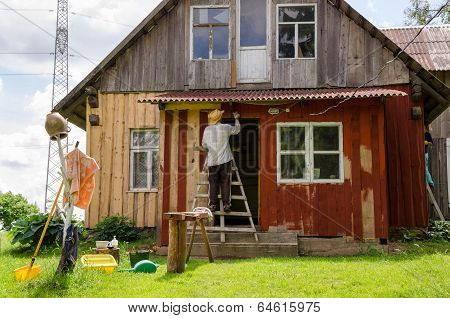Painter Man On Ladder Paint Old Wooden House