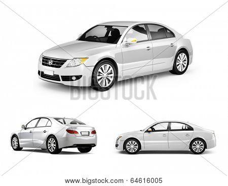 Three Dimensional Image of White Car