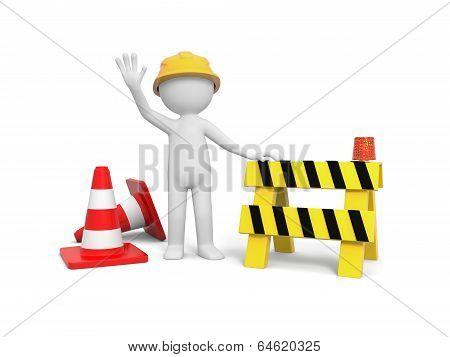 Worker with roadblock
