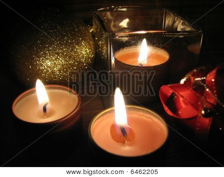 Christmas Ornaments and Candle